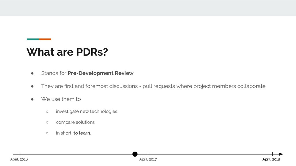What are PDRs? April, 2018 April, 2017 April, 2...