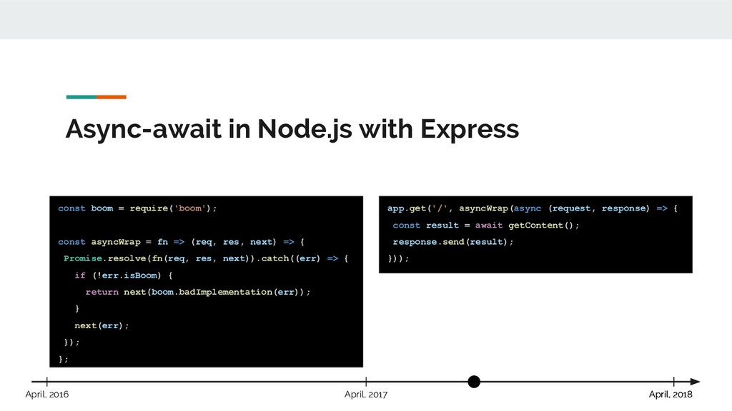 Async-await in Node.js with Express const boom ...