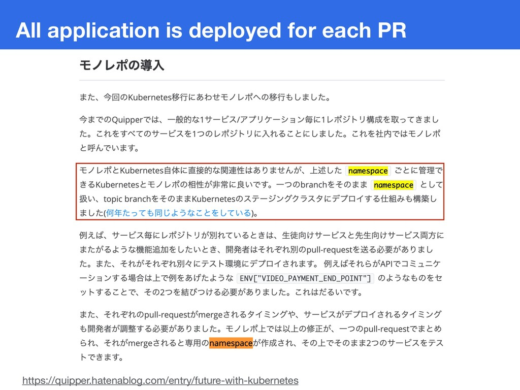 All application is deployed for each PR https:/...