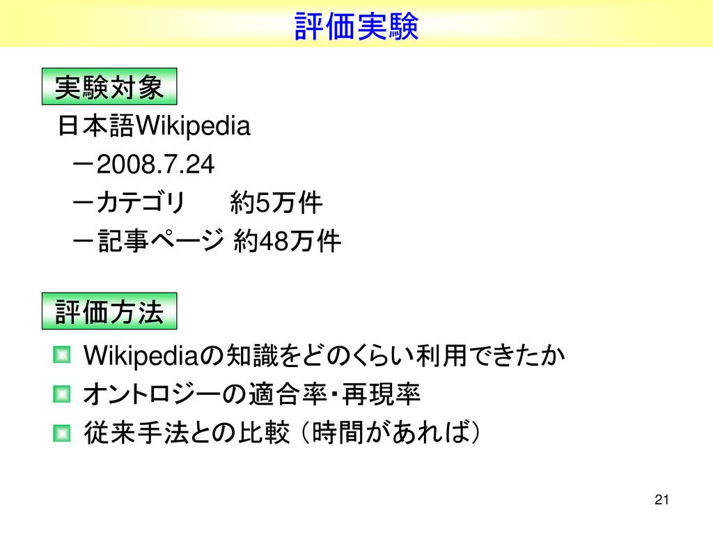 21 評価実験 日本語Wikipedia -2008.7.24 -カテゴリ 約5万件 -記事ペ...