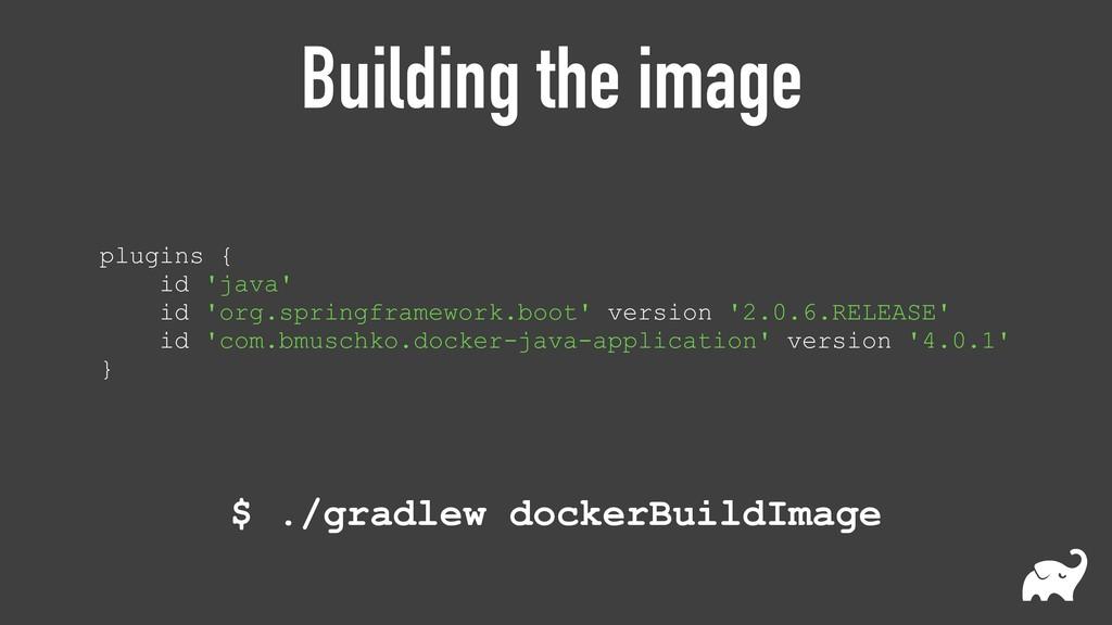 Building the image plugins { id 'java' id 'or...