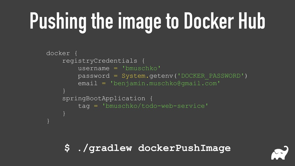 Pushing the image to Docker Hub docker {