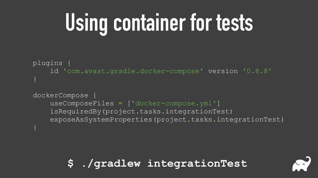Using container for tests plugins {