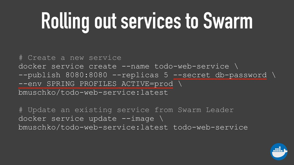 Rolling out services to Swarm # Create a new se...
