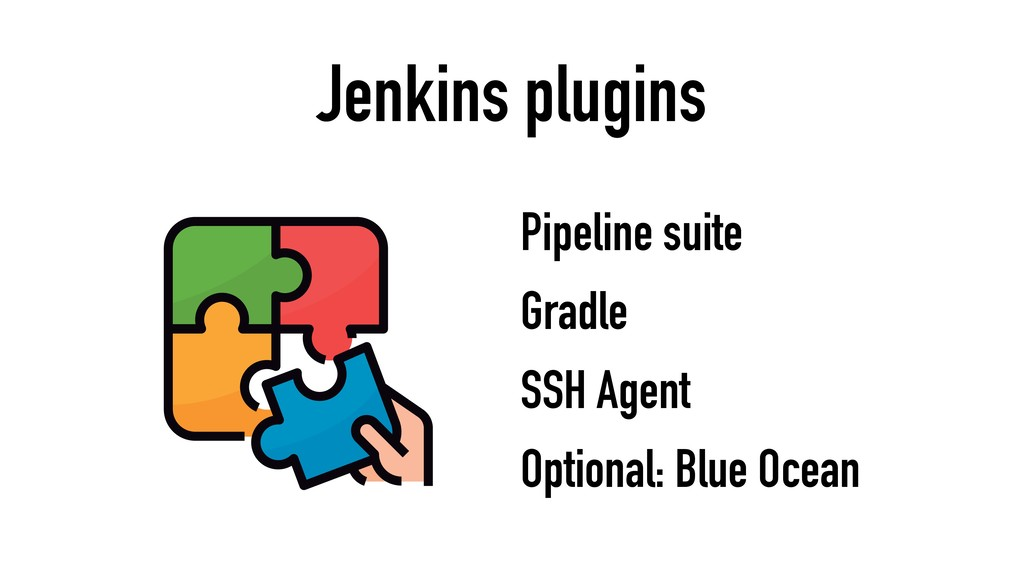 Jenkins plugins Optional: Blue Ocean Gradle Pip...