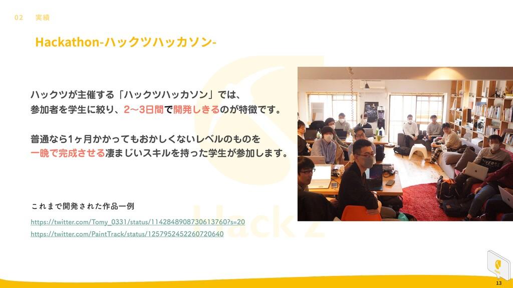 13 Hackathon- - 02 ϋοΫπ͕ओ࠵͢ΔʮϋοΫπϋοΧιϯʯͰɺ Ճऀ...