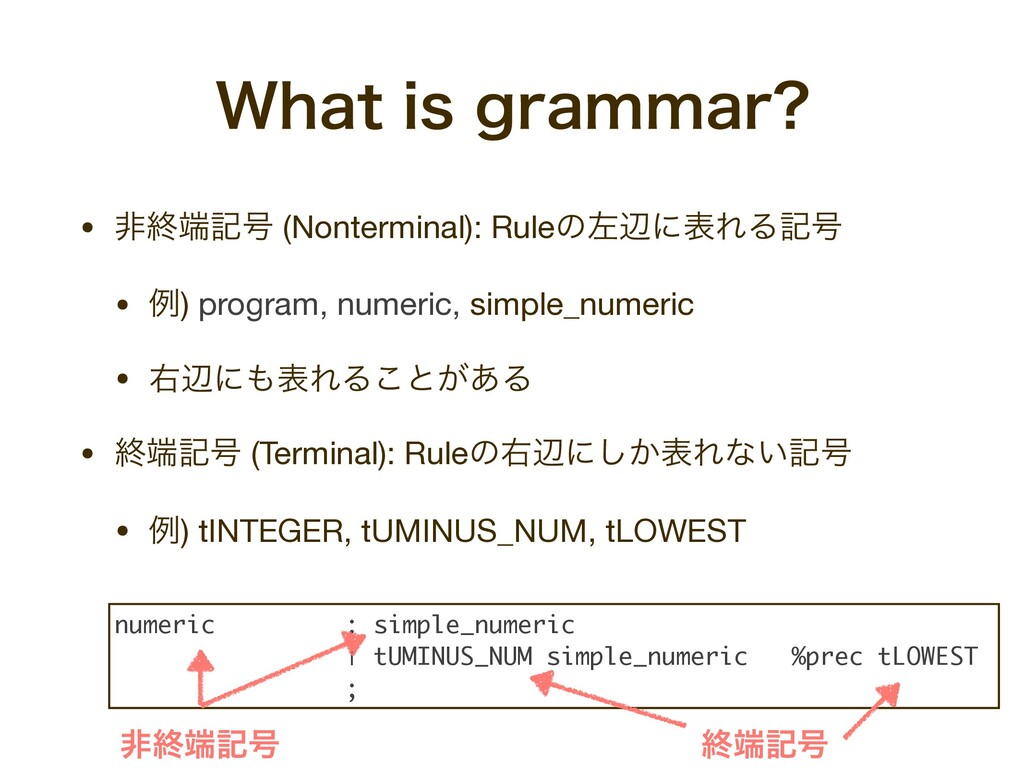 • ඇऴه߸ (Nonterminal): RuleͷࠨลʹදΕΔه߸  • ྫ) prog...