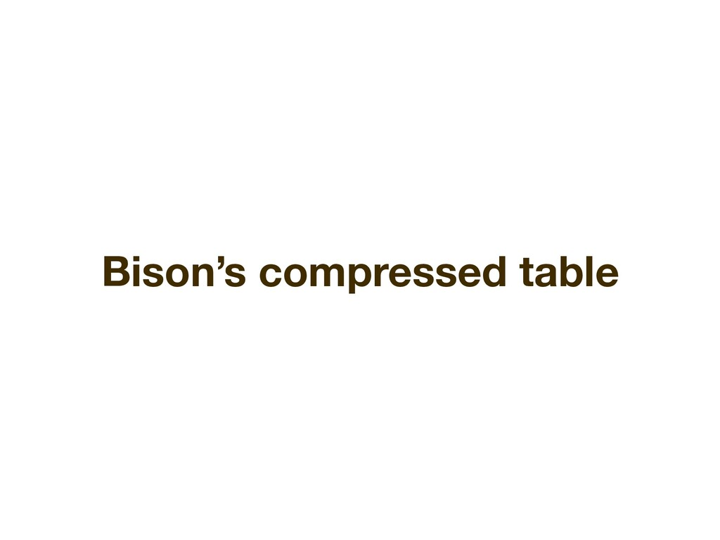 Bison's compressed table