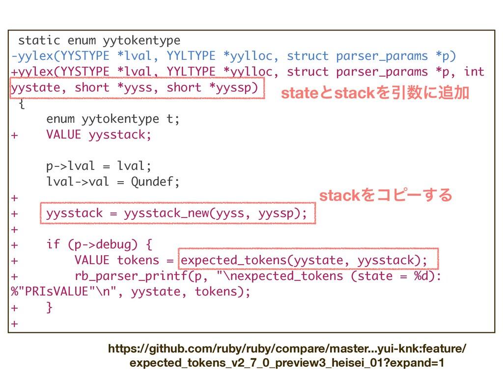 static enum yytokentype -yylex(YYSTYPE *lval, Y...