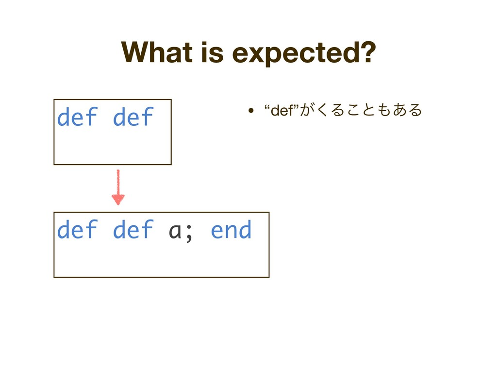 "What is expected? • ""def""͕͘Δ͜ͱ΋͋Δ def def def d..."