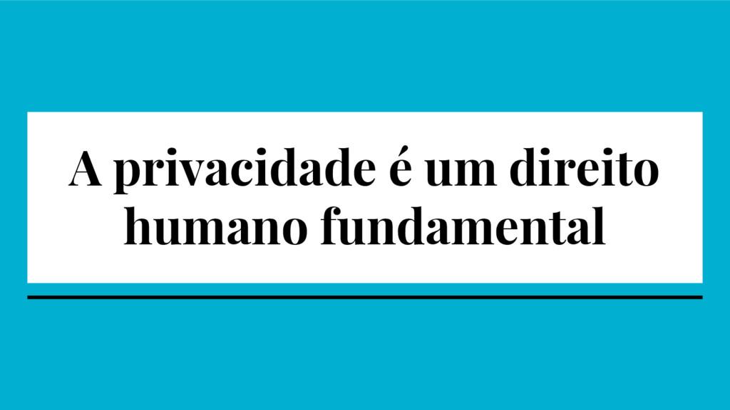 A privacidade é um direito humano fundamental