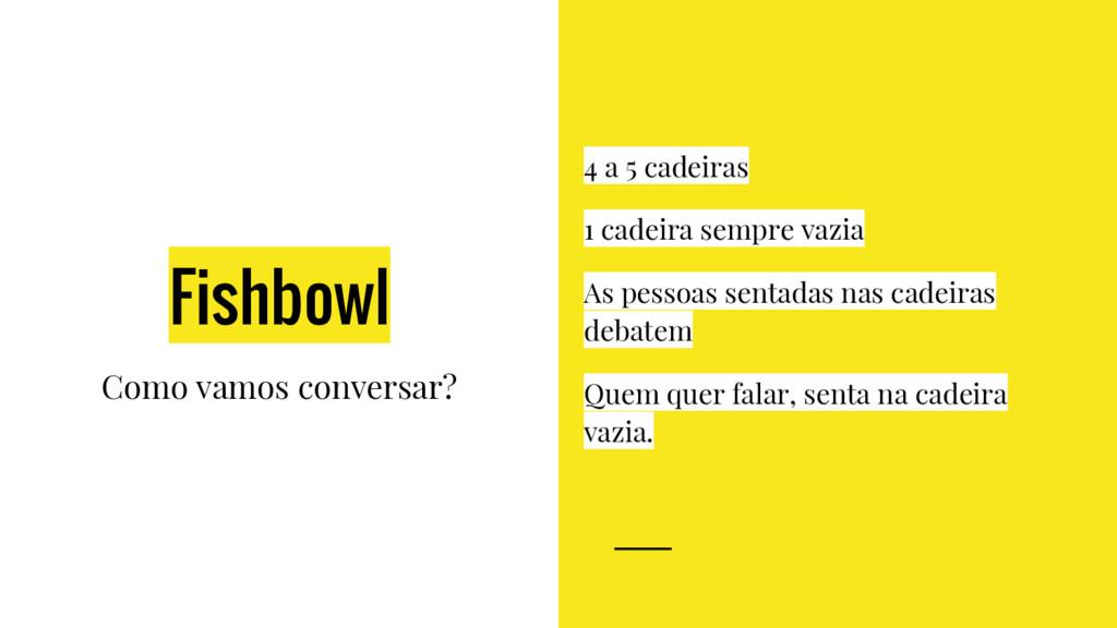 Fishbowl Como vamos conversar? 4 a 5 cadeiras 1...