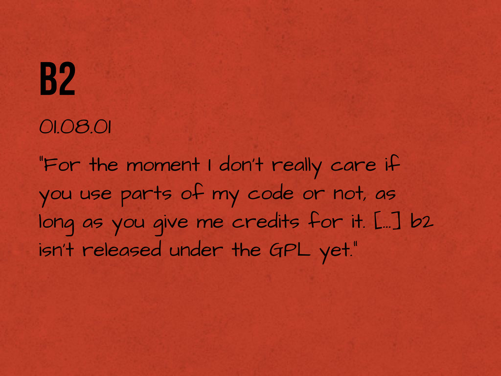 """b2 01.08.01 """"For the moment I don't really care..."""