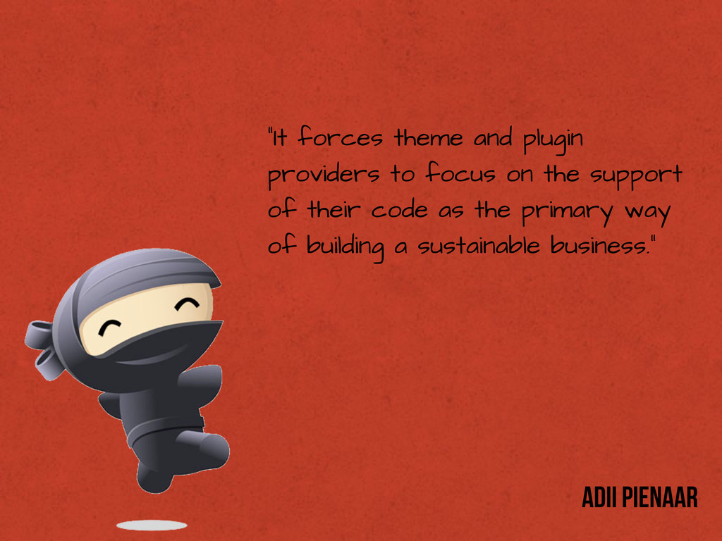 """""""It forces theme and plugin providers to focus ..."""
