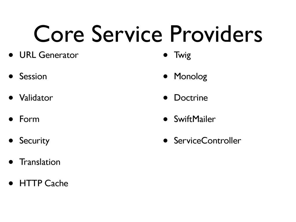 Core Service Providers • URL Generator • Sessio...