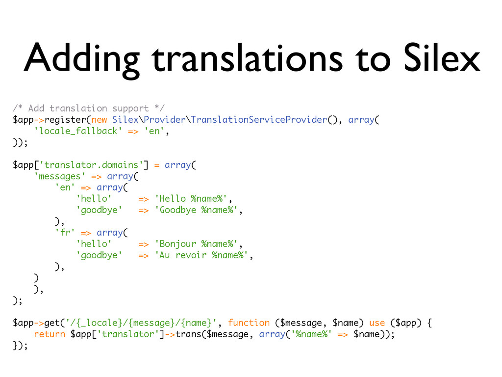 Adding translations to Silex /* Add translation...