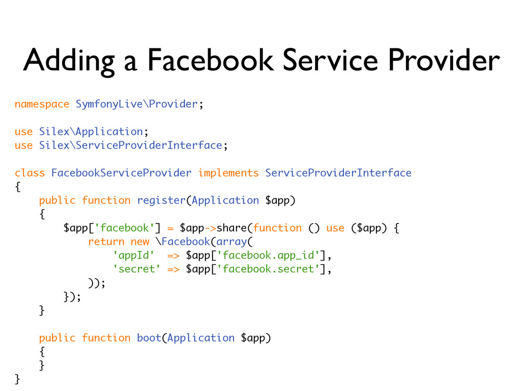 Adding a Facebook Service Provider namespace Sy...