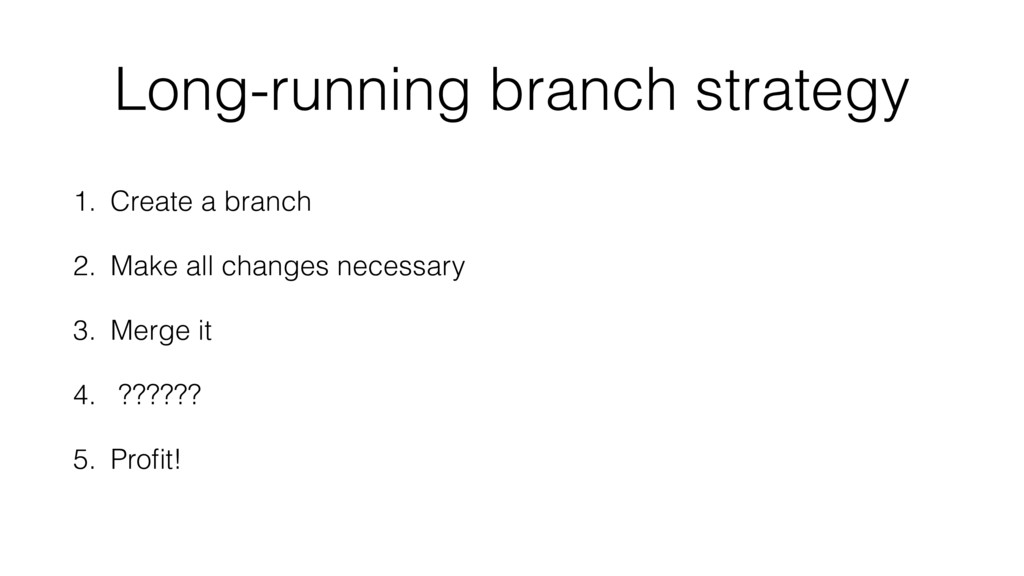 Long-running branch strategy 1. Create a branch...