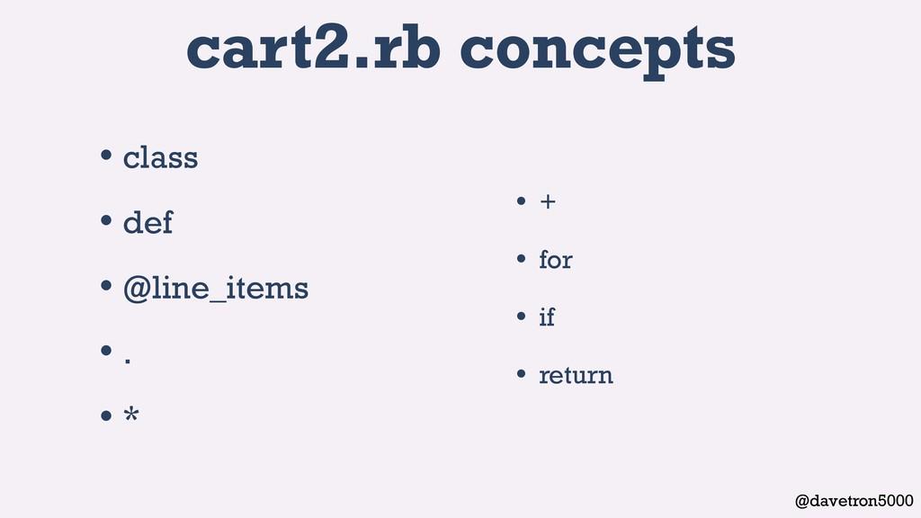 @davetron5000 cart2.rb concepts • class • def •...