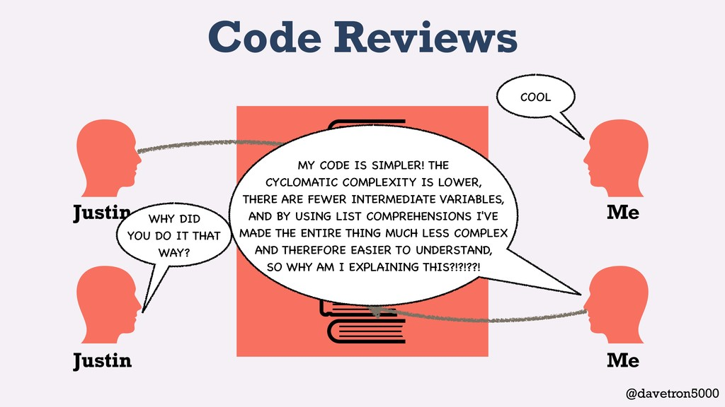 @davetron5000 Code Reviews Justin Justin Me Me ...