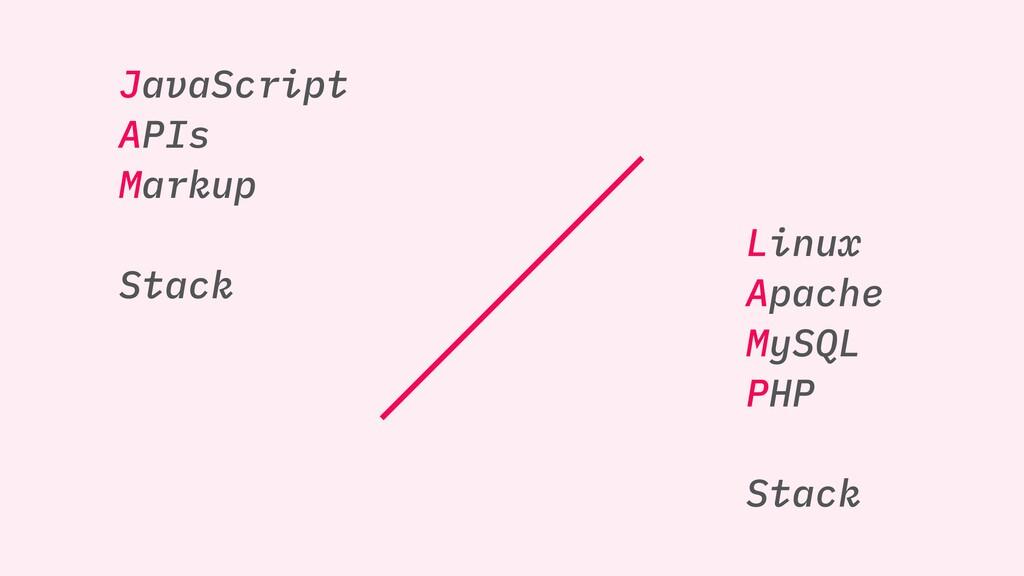 JavaScript APIs Markup Stack Linux Apache MySQL...