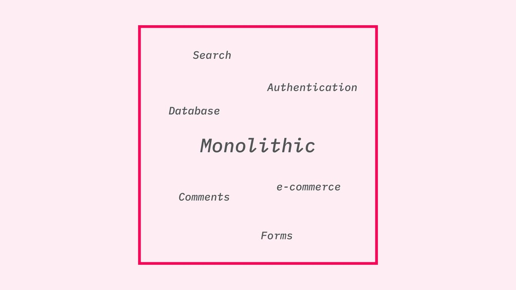 Monolithic Search Comments Forms Authentication...
