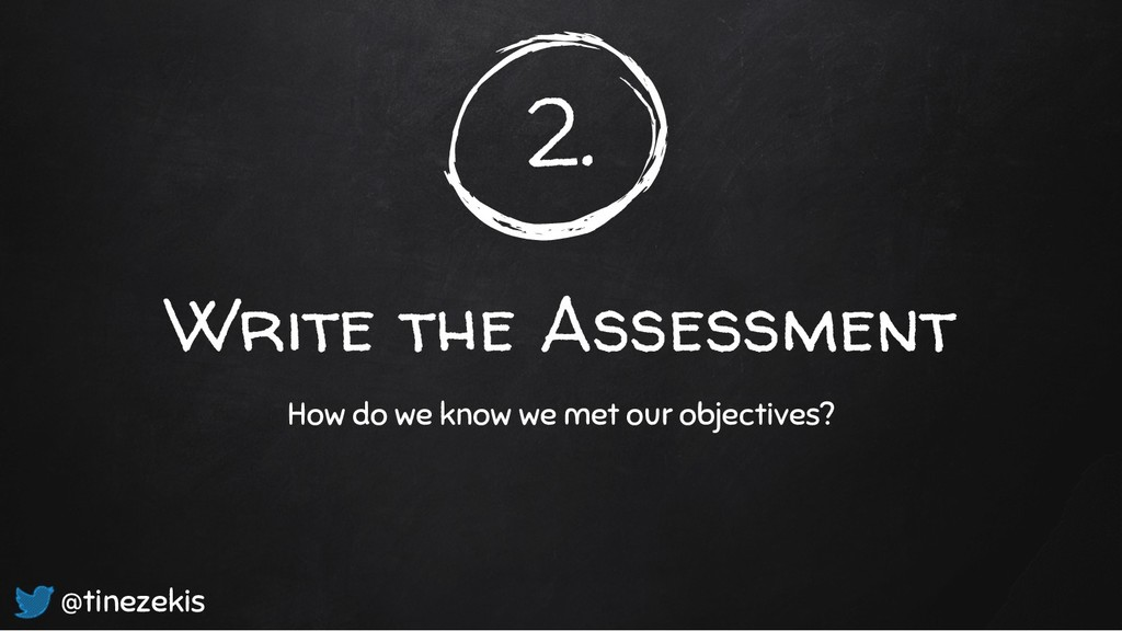 2. Write the Assessment How do we know we met o...