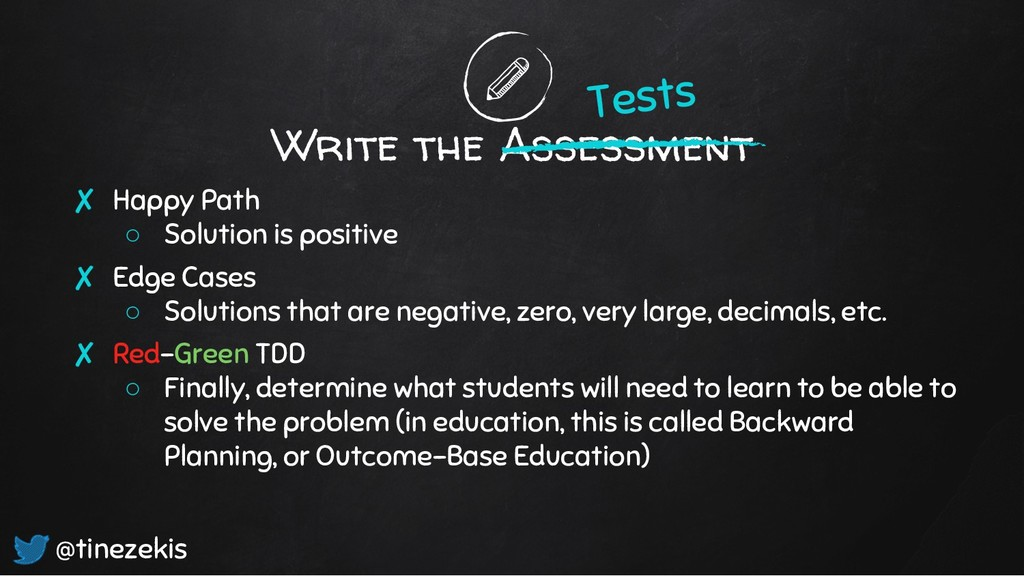 Write the Assessment ✘ Happy Path ○ Solution is...