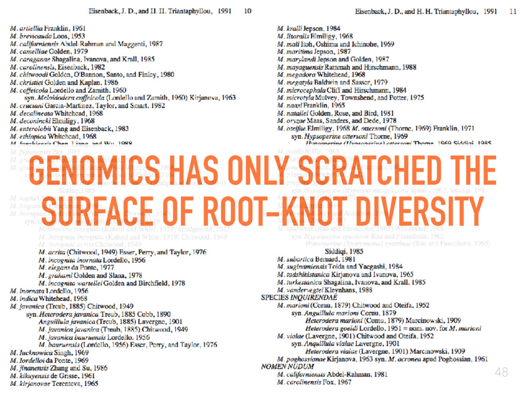 GENOMICS HAS ONLY SCRATCHED THE SURFACE OF ROOT...
