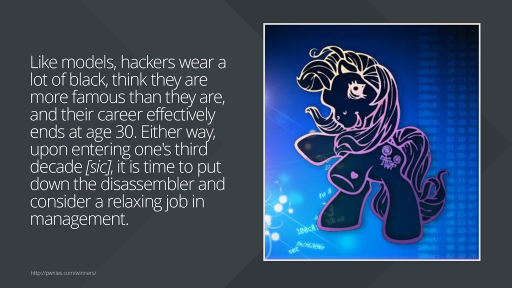 Like models, hackers wear a lot of black, think...