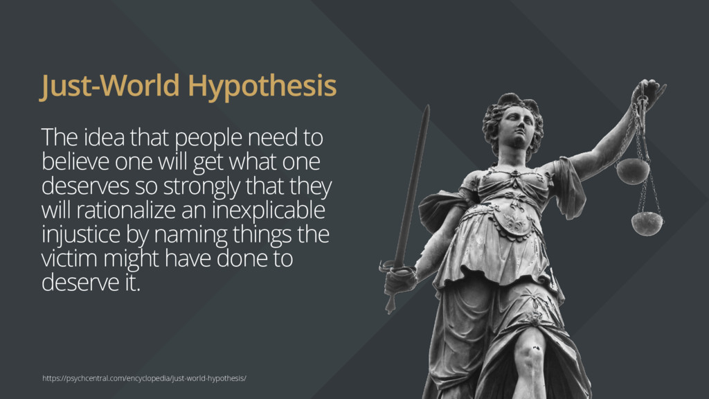 Just-World Hypothesis The idea that people need...