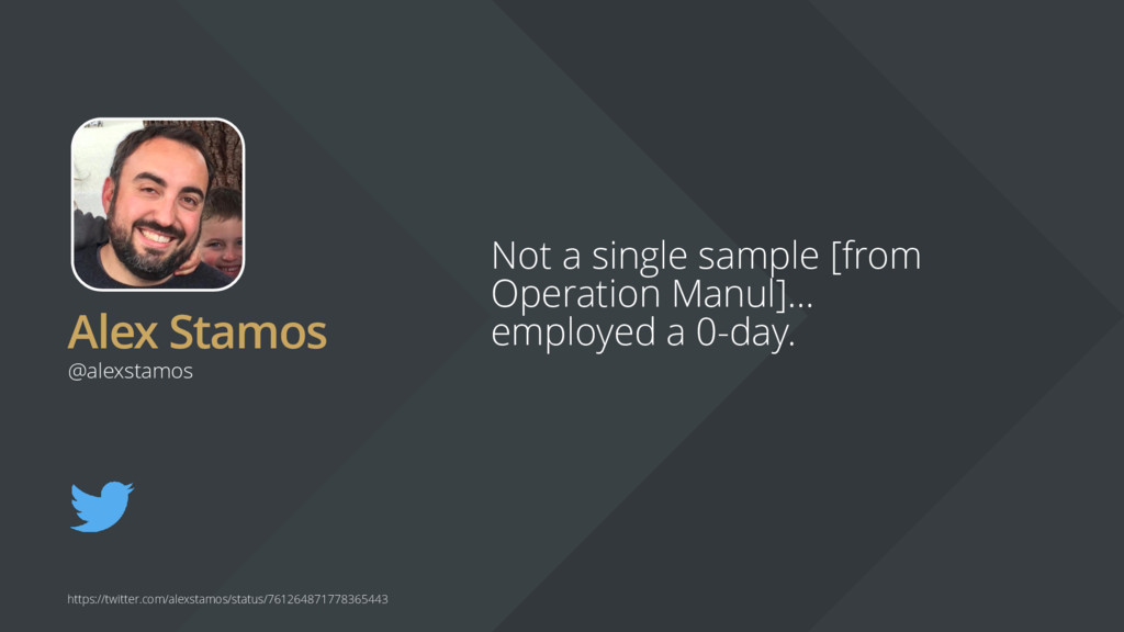Alex Stamos Not a single sample [from Operation...