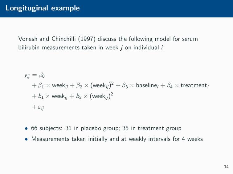 Longituginal example Vonesh and Chinchilli (199...