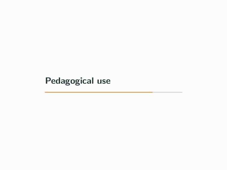 Pedagogical use