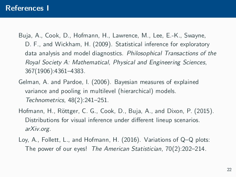 References I Buja, A., Cook, D., Hofmann, H., L...