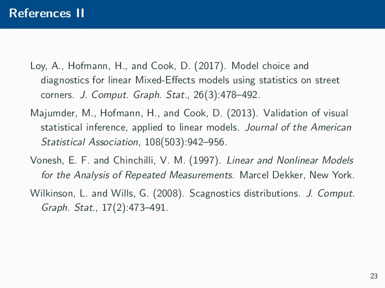 References II Loy, A., Hofmann, H., and Cook, D...