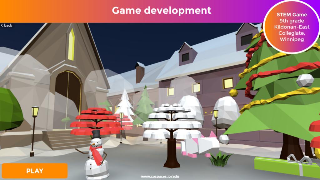 Game development STEM Game 9th grade Kildonan...