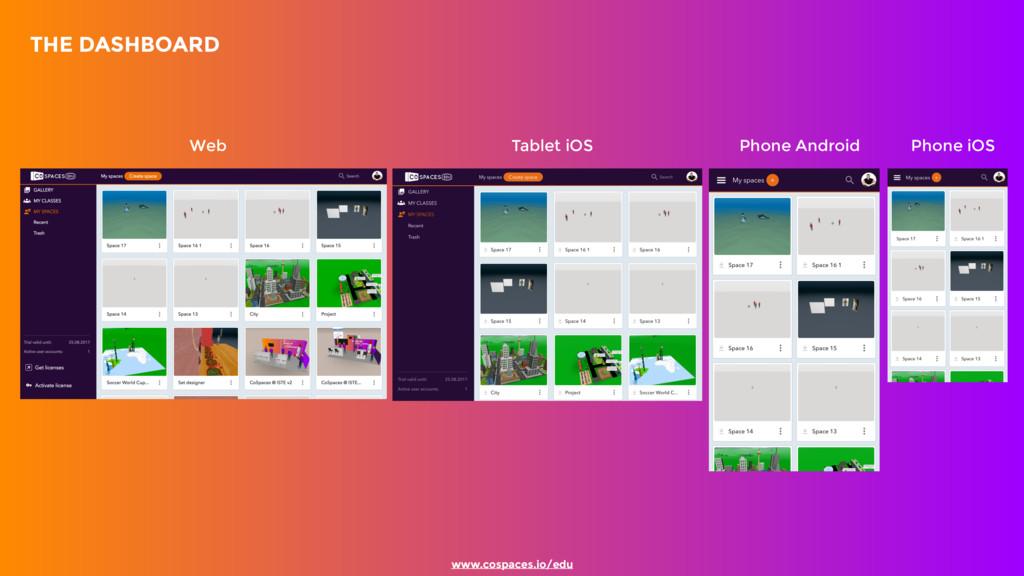 www.cospaces.io/edu  THE DASHBOARD Web Tablet ...