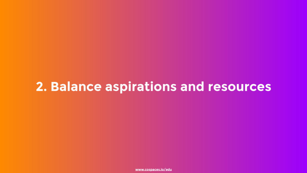 2. Balance aspirations and resources www.cospac...