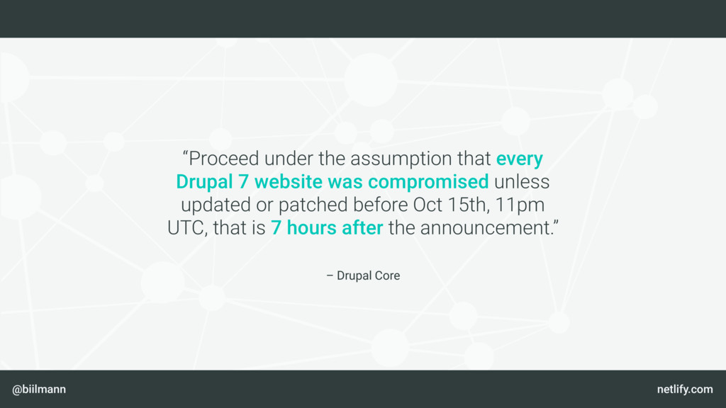 "@biilmann netlify.com – Drupal Core ""Proceed un..."