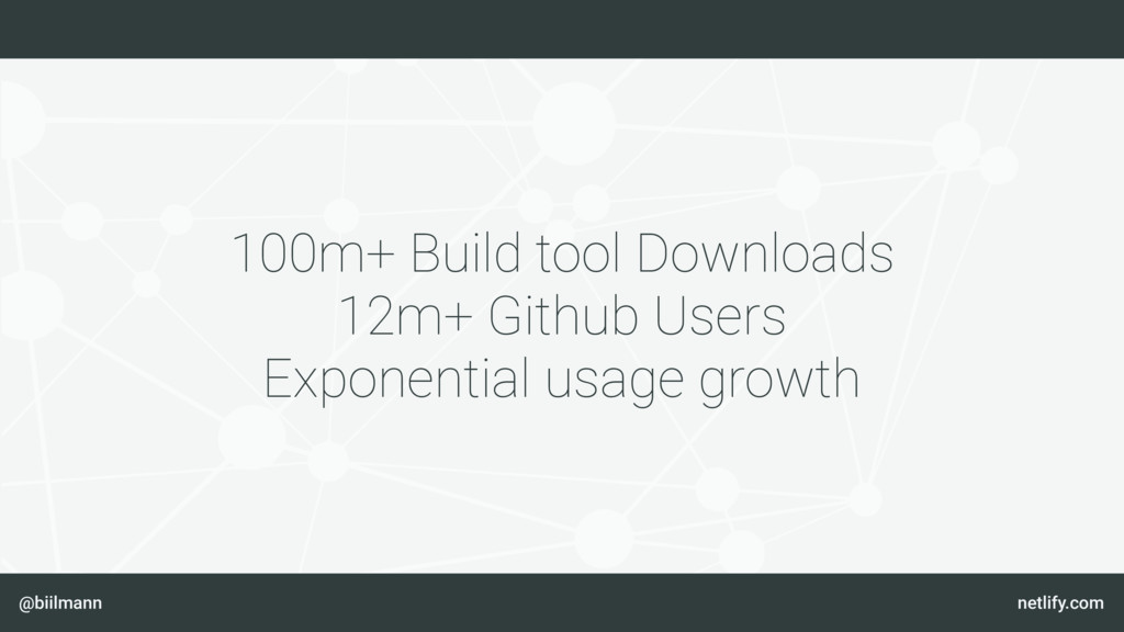 @biilmann netlify.com 100m+ Build tool Download...