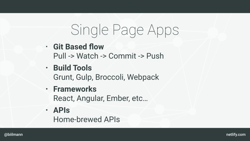 @biilmann netlify.com Single Page Apps • Git Ba...