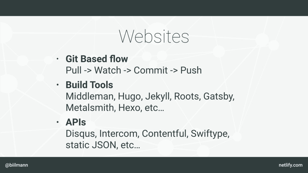 @biilmann netlify.com Websites • Git Based flow