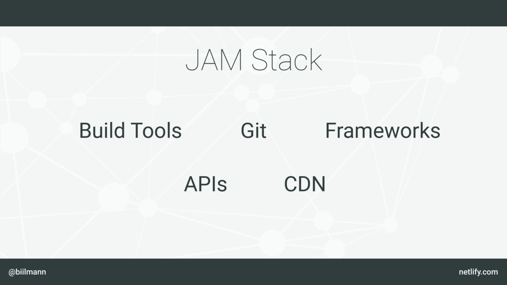 @biilmann netlify.com JAM Stack Git Build Tools...