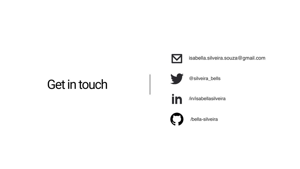 Get in touch /in/isabellasilveira isabella.silv...