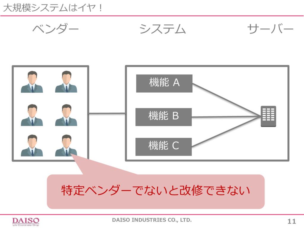 ⼤規模システムはイヤ! DAISO INDUSTRIES CO., LTD. 11 ベンダー ...