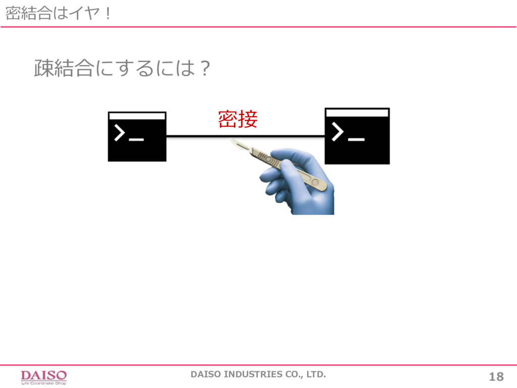 密結合はイヤ! 18 DAISO INDUSTRIES CO., LTD. 疎結合にするには?...