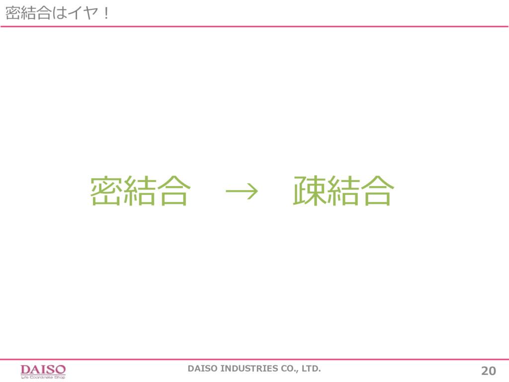 密結合 → 疎結合 密結合はイヤ! 20 DAISO INDUSTRIES CO., LTD.
