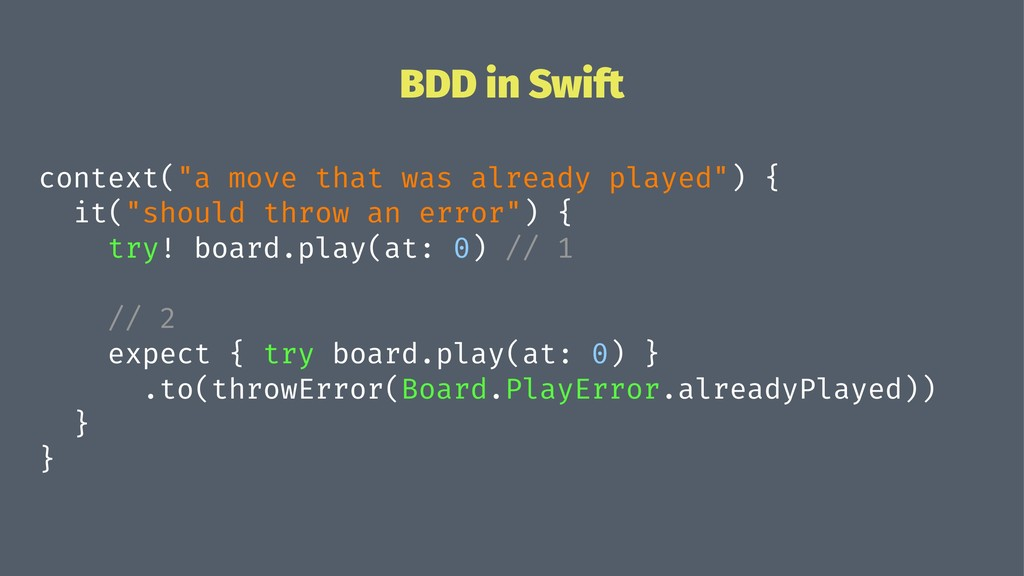 "BDD in Swift context(""a move that was already p..."