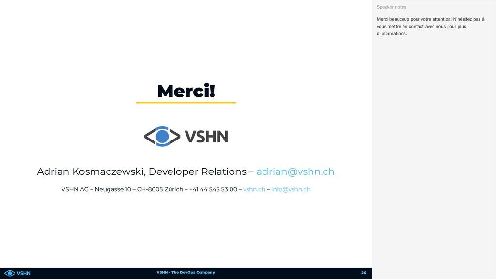 VSHN – The DevOps Company Adrian Kosmaczewski, ...